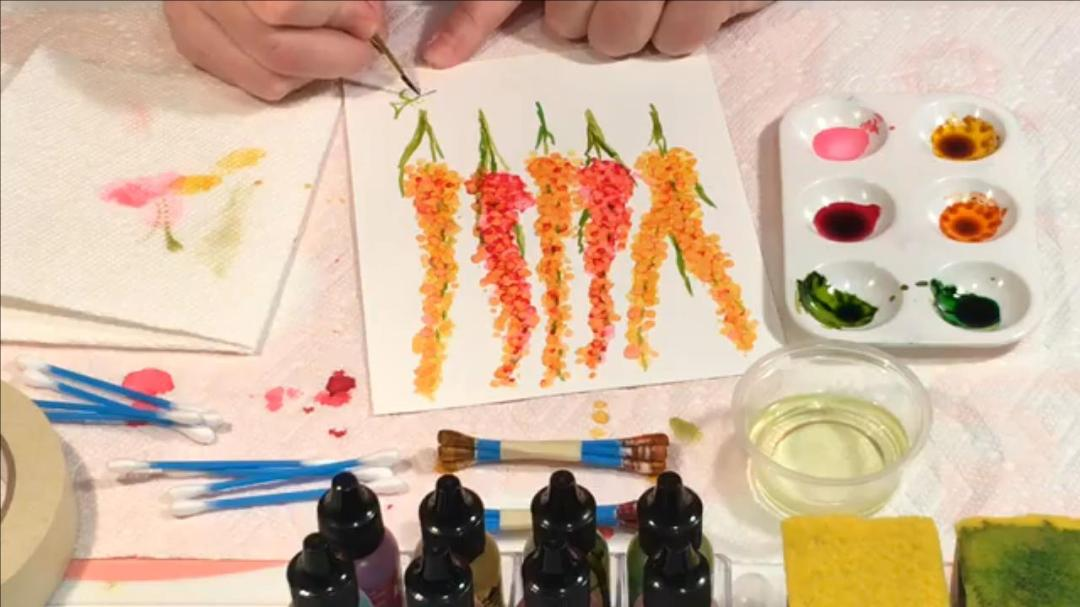How to paint with Alcohol Ink – Cotton Swab Flowers