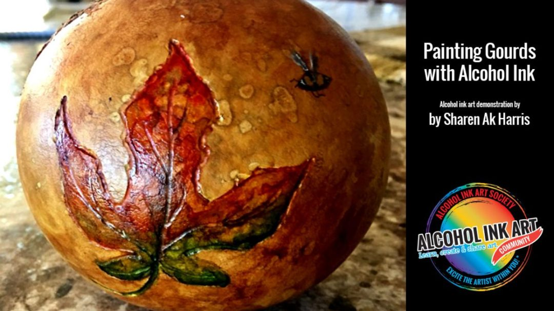 Alcohol Ink Painting on Gourds