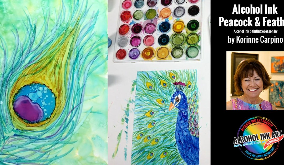 Painting Peacock and Peacock Feather with Alcohol Ink