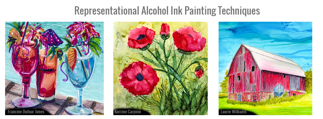 Representational painting with alcohol ink