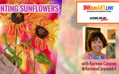 Painting Sunflowers in Alcohol Ink
