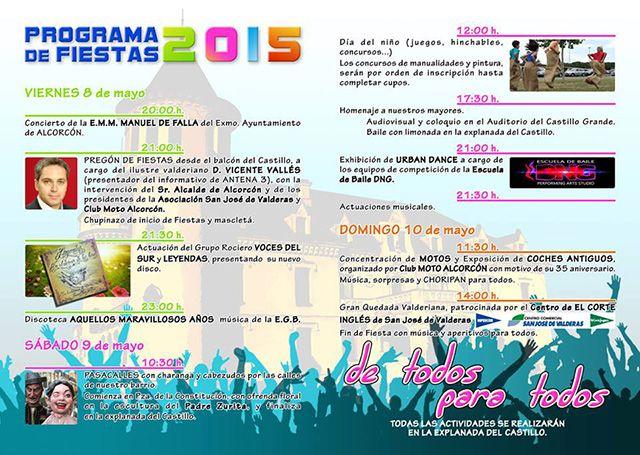 Programa de fiestas San José de Valderas 2015. Te esperamos.