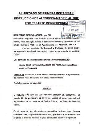 Vox denuncia a la Alcaldesa de Alcorcón