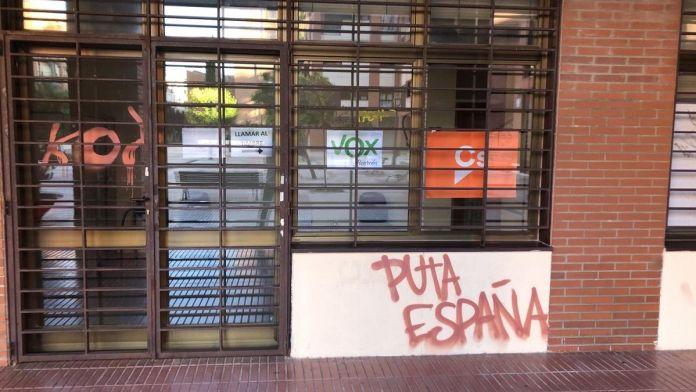 Atacadas las sedes de Ciudadanos y Vox en Alcorcón