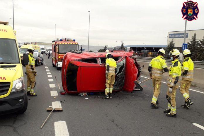 Aparatoso accidente en Alcorcón