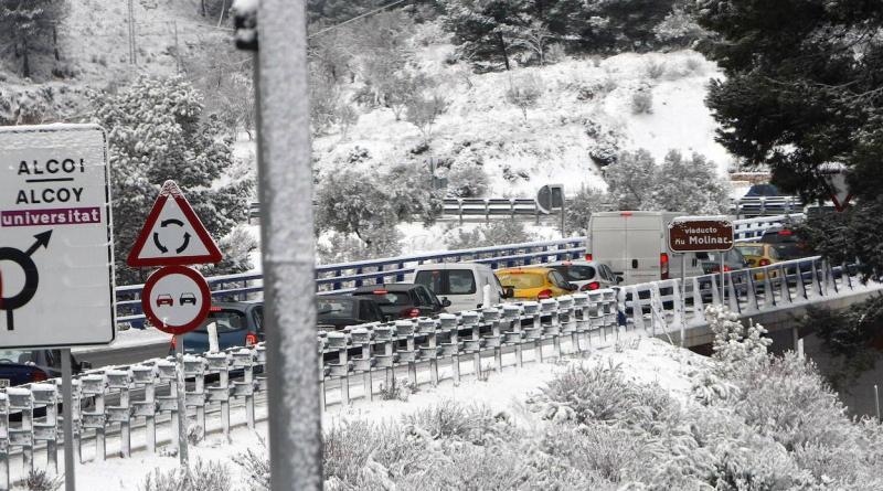 Snow Causes Havoc On Roads Around Alcoy