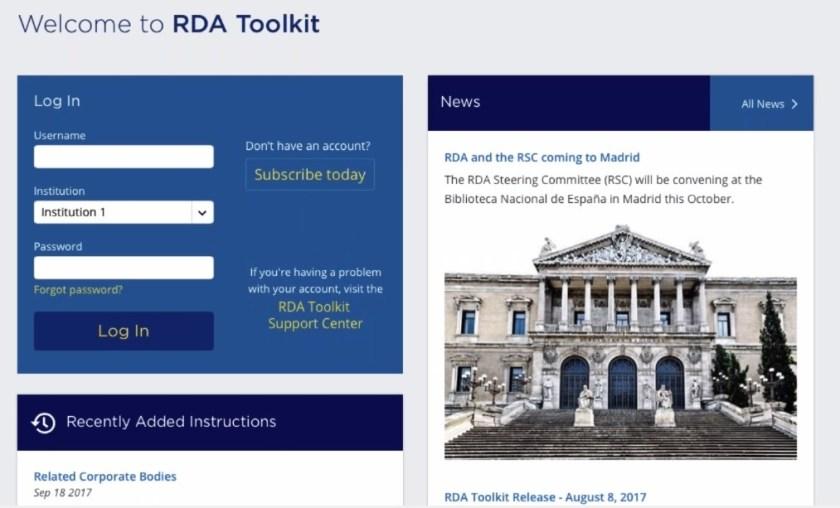 Screenshot of RDA Toolkit login page