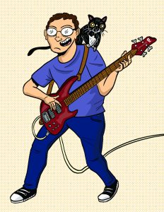 Cartoon depiction of Netanel Ganin rocking out on bass guitar, with his cat Violet perched on his shoulder