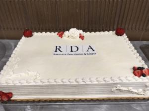 White sheet cake with Resource Description & Access (RDA) logo