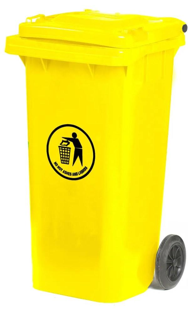 120 Litre Yellow Wheeled Bin