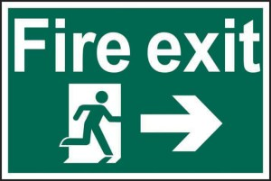 Fire Exit Running Man and Arrow Right Safety Sign