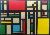 Paper collage styled after modern artist, Mondrian created during our line study unit.