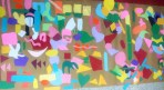 Shape mural collage created by Mrs. Huffman's homeroom.