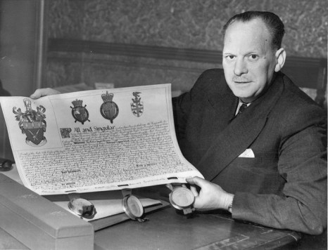 Mr A. Shaw, Governors Clerk, Coat of Arms 1957.