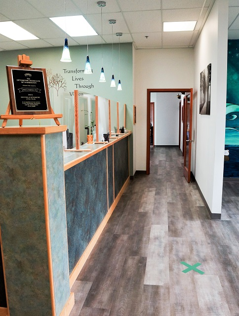 Reception looking toward Diagnostic Screening and Vision Therapy