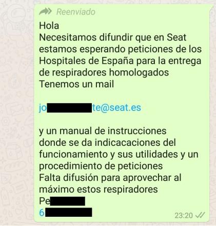 Típico bulo de Whatsapp. Autor: Captura de pantalla realizada el 18/04/2020 a las 22:01h. Fuente: propia.