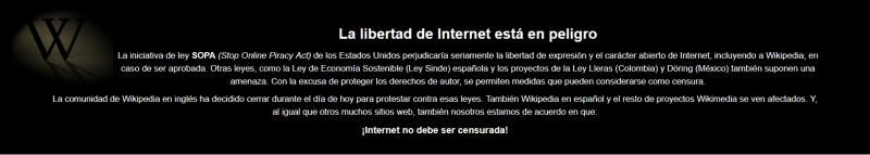 Banner de protesta del sitio Wikipedia. Fuente: Wikipedia, 2012 (CC BY-SA 3.0.).