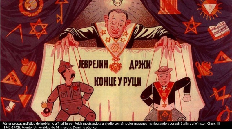 "Descripción English: A Serbian poster for an exhibition in 1941-1942 during the Fascist regime of Milan Nedic, showing the Jews and Masons controlling the Soviet Union and the United Kingdom, with marionettes of Stalin and Churchill. Caption: ""The Jew is holding the strings. Whose strings and how? He'll answer you. The anti-masonic exhibit"" Fecha entre 1941 y 1942 Fuente World War II posts and documents University of Minnesota Autor Third Reich"