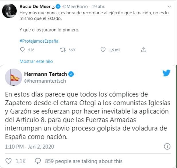 Tweets oficiales de las cuentas de los diputados de Vox Rocío de Merr y Hermann Tertsch, realizados el 25 de Mayo a las 4:05 en su cuenta de Twitter.