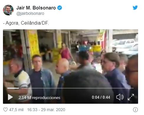 Captura de pantalla hecha en el Twitter oficial de Jair Bolsonaro. Viernes 24 de Abril de 2019 a las 17:52:20