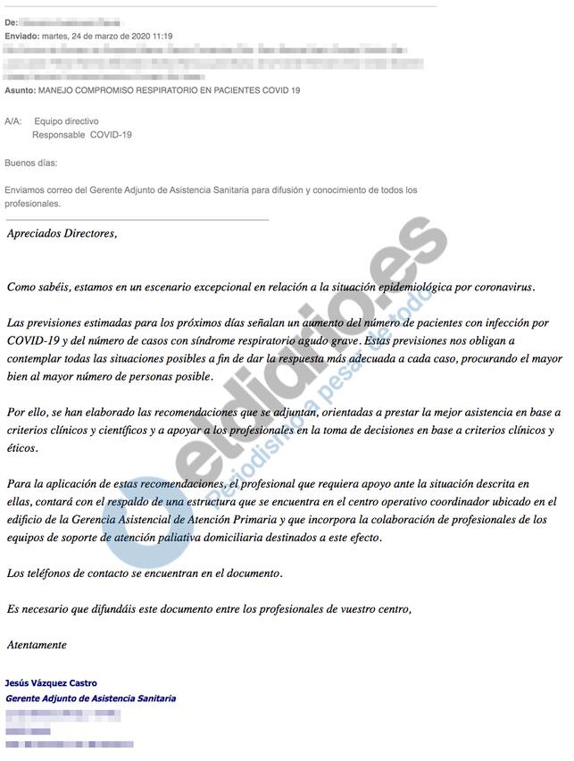 Correo electrónico del Gerente Adjunto de Asistencia Sanitaria justificando las directrices con respecto al no traslado de pacientes mayores a residencias el 24 de marzo de 2020 de Ayuso. Autor y fuente: eldiario.es (CC BY-NC 3.0.)