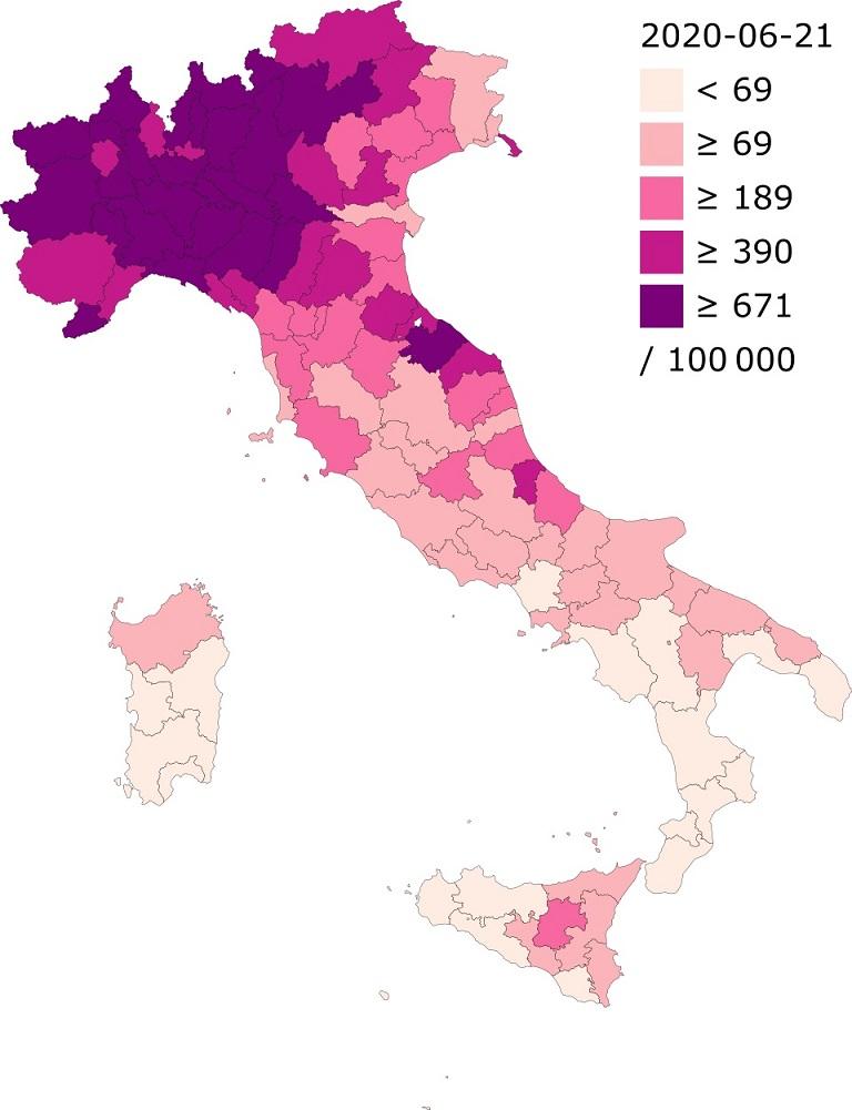 """""""Casos confirmados de Covid19 por cada 100.000 residente en Italia"""". Autor Ythlev, trabajo propio. 22 de marzo de 2020. CCBY SA 4.0"""