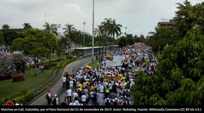 Marchas en Cali, Colombia, por el Paro Nacional del 21 de noviembre de 2019. Autor: Roboting. Fuente: Wikimedia Commons (CC BY-SA 4.0.).
