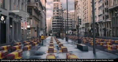 Fotomontaje realizado y difundido por Vox de una fotografía de la Gran Vía de Madrid, 06/04/2020. Autor de la foto original: Ignacio Pereira. Fuente: Cuenta de Twitter de Vox. Fuente original: https://twitter.com/ignaciopereira/status/1247174597625155584