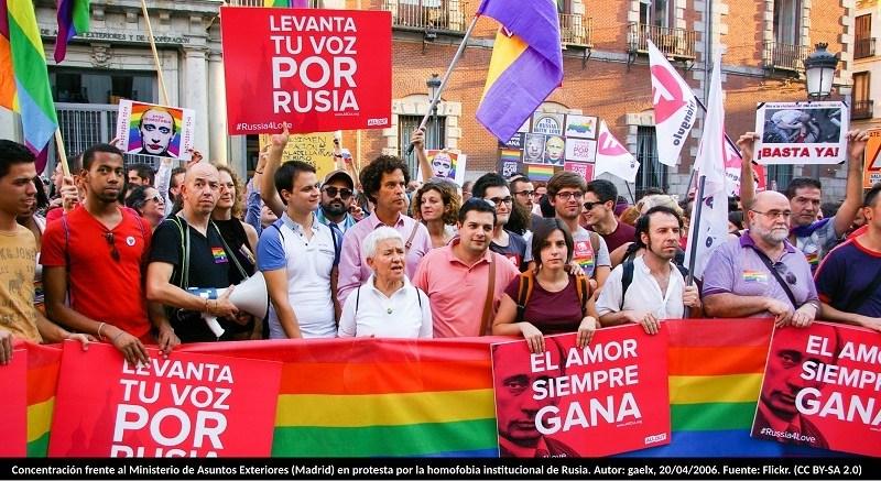 Concentración frente al Ministerio de Asuntos Exteriores (Madrid) en protesta por la homofobia institucional de Rusia. Autor: gaelx, 20/04/2006. Fuente: Flickr. (CC BY-SA 2.0)
