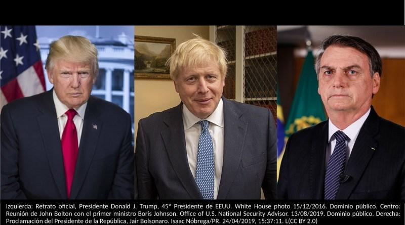 Izquierda: Retrato oficial, Presidente Donald J. Trump, 45º Presidente de EEUU. White House photo 15/12/2016. Dominio público. Centro: Reunión de John Bolton con el primer ministro Boris Johnson. Office of U.S. National Security Advisor. 13/08/2019. Dominio público. Derecha: Proclamación del Presidente de la República, Jair Bolsonaro. Isaac Nóbrega/PR. 24/04/2019, 15:37:11. L(CC BY 2.0