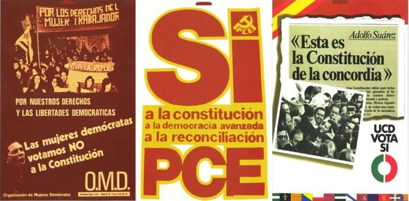 Propaganda de la Organización de Mujeres Democráticas, el PCE y la UCD sobre el Referéndum de 1977. Fuente: constitucion40.com