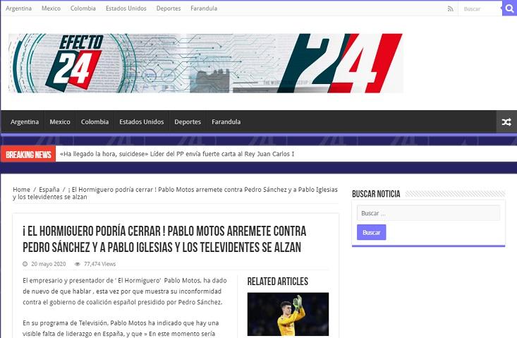 Portada de la web Efecto24.online. Captura de pantalla realizada realizada el 21/07/2020 a las 17:38. Fuente: Efecto24.online