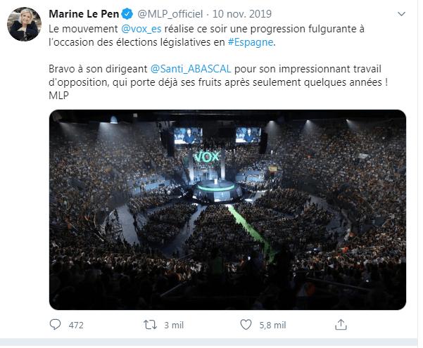Tuits oficiales de la cuenta de Matteo Salvini y Marine Le Pen felicitando a Vox por sus resultados electorales. Autor: Captura de pantalla hecha a el 03 de juluo a las 04:30.  Fuente: Tuit de Matteo Salvini  y de Marine Le pen del 10 de Noviembre de 2019. y Captura de twitter hecha a el 03 de juluo a las 04:30.