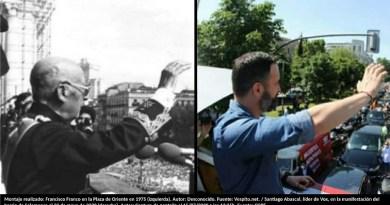 Montaje realizado: Francisco Franco en la Plaza de Oriente en 1975 (izquierda). Autor: Desconocido. Fuente: Vespito.net. / Santiago Abascal, líder de Vox, en la manifestación del barrio de Salamanca el 23 de mayo de 2020. Autor: Captura de pantalla el 15/07/2020 a las 13:26h. Fuente: COPE.
