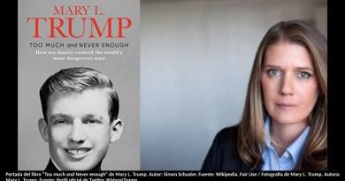"""Portada del libro """"Too much and Never enough"""" de Mary L. Trump. Autor: Simon Schuster. Fuente: Wikipedia. Fair Use / Fotografía de Mary L. Trump. Autora: Mary L. Trump. Fuente: Perfil oficial de Twitter @MaryLTrump"""