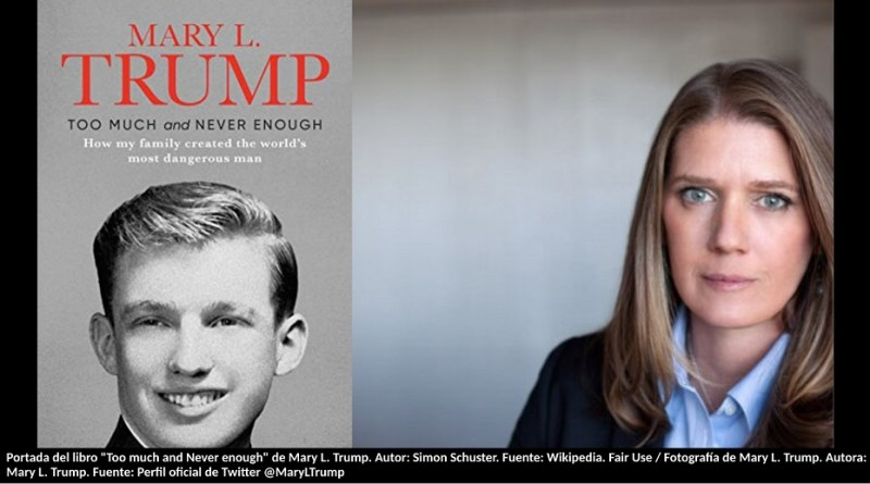 "Portada del libro ""Too much and Never enough"" de Mary L. Trump. Autor: Simon Schuster. Fuente: Wikipedia. Fair Use / Fotografía de Mary L. Trump. Autora: Mary L. Trump. Fuente: Perfil oficial de Twitter @MaryLTrump"