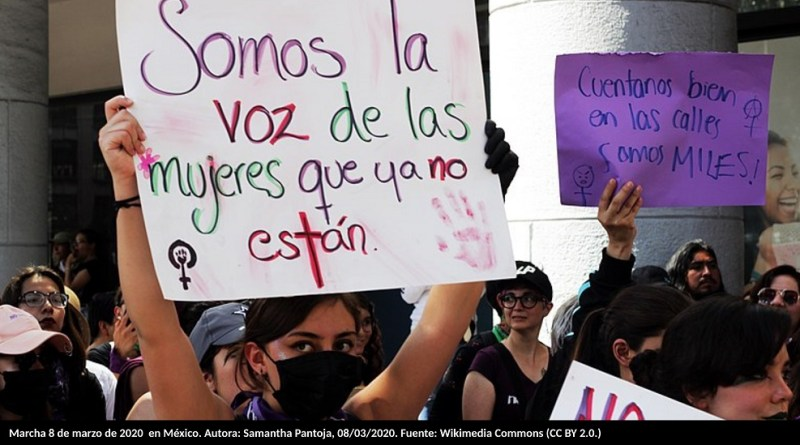 Marcha 8 de marzo de 2020 en México. Autora: Samantha Pantoja, 08/03/2020. Fuente: Wikimedia Commons (CC BY 2.0.)