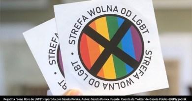 """Pegatina """"zona libre de LGTB"""" repartida por Gazeta Polska. Autor: Gazeta Polska. Fuente: Cuenta de Twitter de Gazeta Polska @GPtygodnik"""