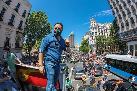 5. Santiago Abascal encabezando la manifestación organizada por Vox contra el Gobierno La caravana por la libertad. Autor: Vox España, 23/05/2020. Fuente: Flickr.