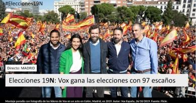 Montaje parodia con fotografía de los líderes de Vox en un acto en Colón, Madrid, en 2019. Autor: Vox España, 26/10/2019. Fuente: Flickr.