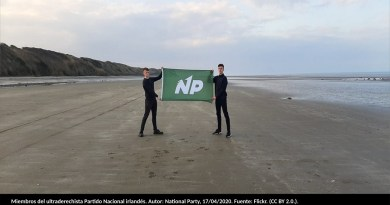 Miembros del ultraderechista Partido Nacional de Irlanda. Autor: National Party, 17/04/2020. Fuente: Flickr. (CC BY 2.0.).