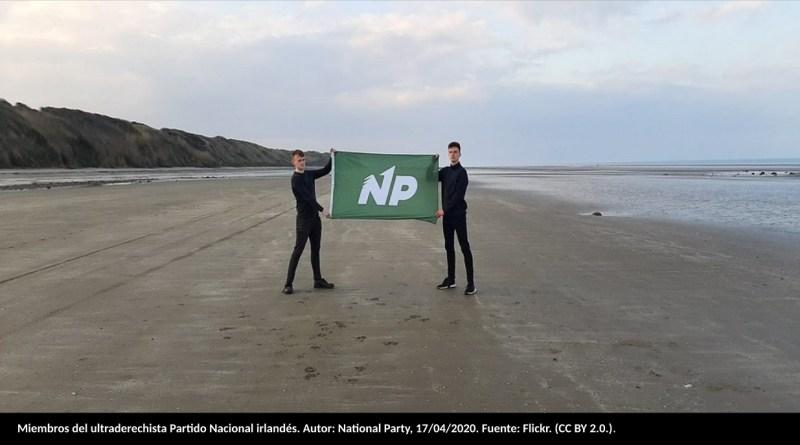 Miembros del ultraderechista Partido Nacional de Irlanda. Autor: National Party, 17/04/2020. Fuente: Flickr. (CC BY 2.0.).