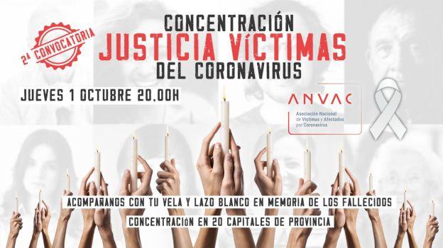 ¿Quién hay tras las asociaciones españolas de víctimas del coronavirus? Cartel concentración justicia víctimas del coronavirus. Autor: ANVAC. Fuente: Web de la ANVAC