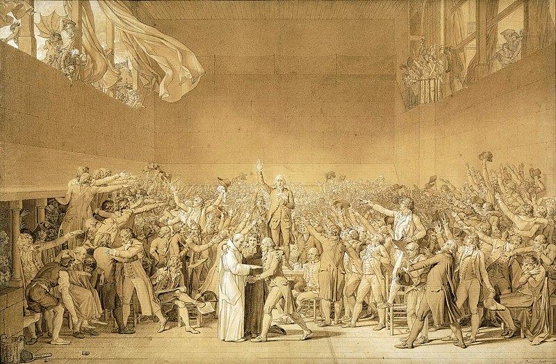 Le Serment du Jeu de paume, cuadro que refleja la constitución de la Asamblea Nacional Constituyente durante la Revolución Francesa. Autor: Jacques-Louis David, 1791. Fuente: Museo Nacional del Palacio de Versalles