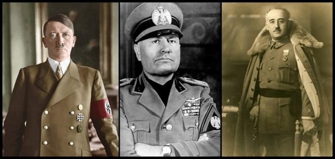 Adolf Hitler, Benito Mussolini y Francisco Franco, dictadores de Alemania, Italia y España respectivamente.