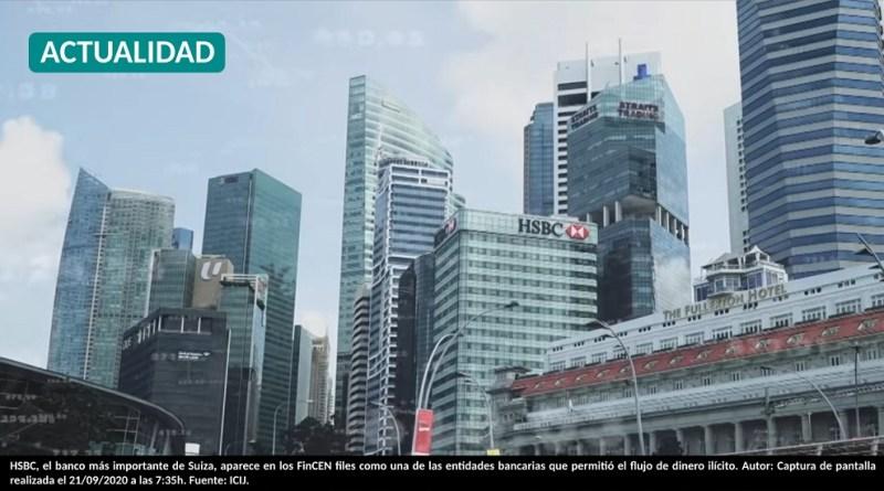 HSBC, el banco más importante de Suiza, aparece en los FinCEN files como una de las entidades bancarias que permitió el flujo de dinero ilícito. Autor: Captura de pantalla realizada el 21/09/2020 a las 7:35h. Fuente: ICIJ.