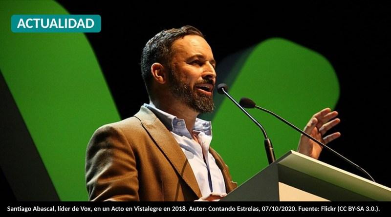 Santiago Abascal, líder de Vox, en un Acto en Vistalegre en 2018. Autor: Contando Estrelas, 07/10/2020. Fuente: Flickr (CC BY-SA 3.0.).