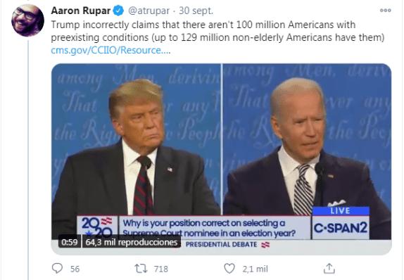 Tweet mostrando a Trump y Biden en el debate. Autor: captura de pantalla realizada el 28/10/2020 a las 12:34: Fuente: Twitter, de @atrupar