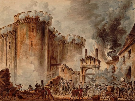 La toma de la Bastilla, uno de los momentos más importantes de la Revolución Francesa. Autor: jean-Pierre HouËl, 1789. Fuente: Biblioteca Nacional Francesa.
