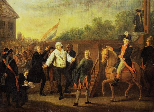 Ejecución de Luis XVI en la Plaza de la Concordia en 1793, acusado de traidor al pueblo francés. Autor: Charles Benazech, 1793. Fuente: histoire-image.org